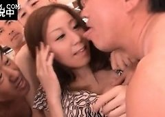 Asian sexual redhead babe receives gangbanged for bukkake
