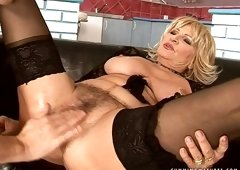 Immense golden-haired mature BBW receives her hairy pussy tickled with vibrator