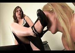 lesbians slave caged worship feet