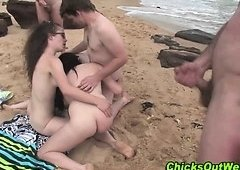 Hairy stupid threesome at beach