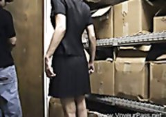 Flexible and plus pale bitch receives properly fucked from behind in the warehouse