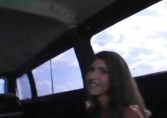 Golden-haired young and fresh dealing with massive cock in the bus