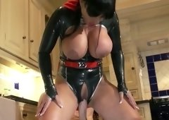 Rapacious brunette hair hoe in sex suit acquires banged by her boy hard