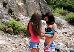 A Duo raven haired lusty lesbians have solid sex outdoors