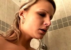 Fair haired filthy chick licks sexy fuck hole of her titless kooky in bath