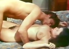 Busty brunette hair chick receives banged in sideways pose after solid deep throat