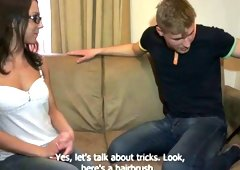 Nerdy gal with pierced navel receives fucked & takes cumshots