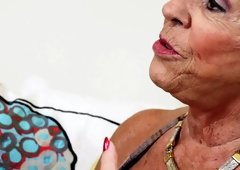 Blond granny with big tits likes fucking and additionally sucking virile guys